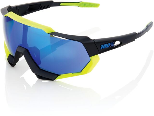 97c4736be3 100% Speedtrap Gafas ciclismo, polished black/matte neon yellow | mirror |  Bikester.es